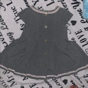 Tahari Dresses - Grey soft dress with surer cute embroidery!